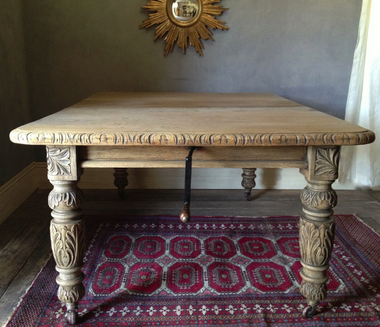 Weathered Amp Bleached Antique Oak Extending Dining Table