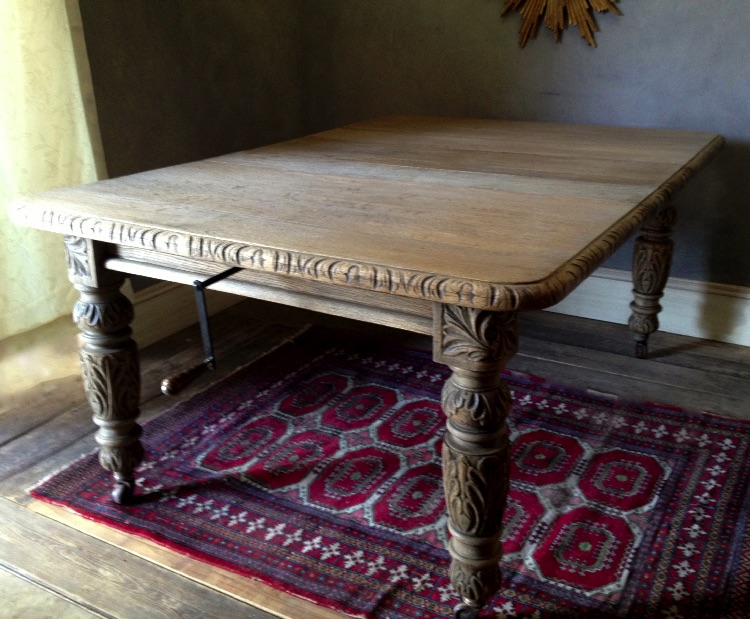 Weathered Bleached Antique Oak Extending Dining Table