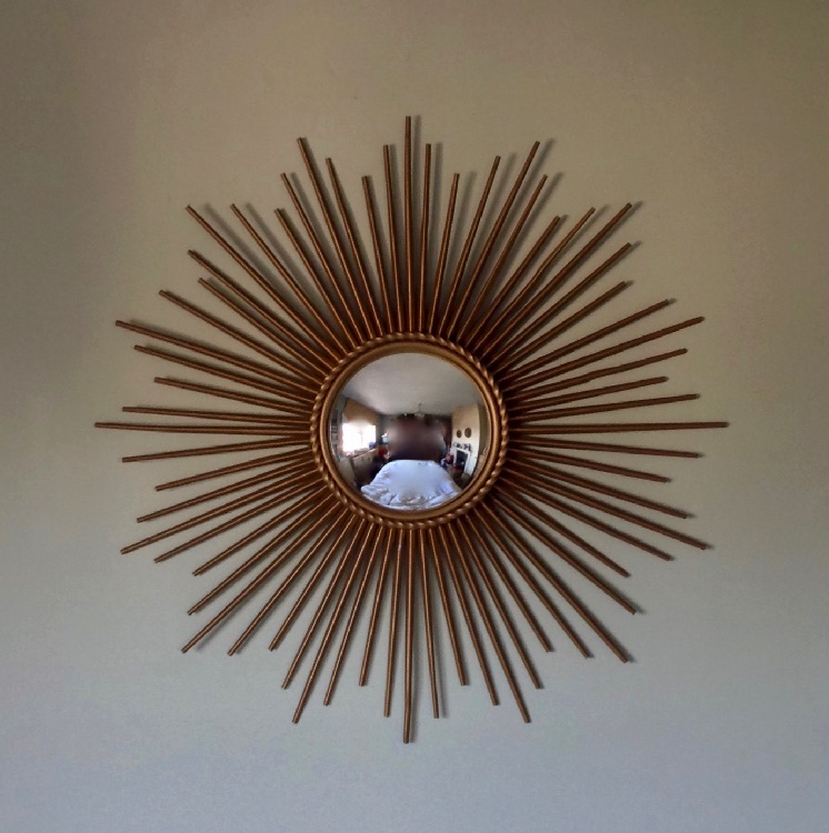 Original 1950s Chaty Vallauris Sunburst Convex Mirror