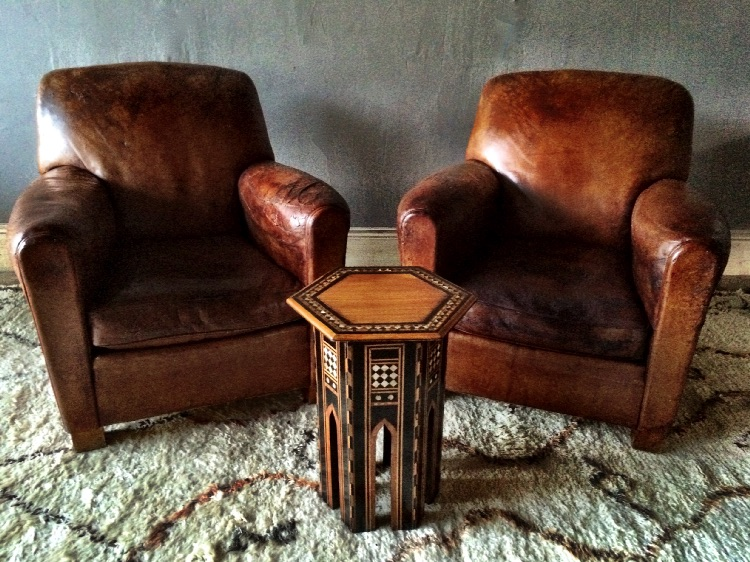 Pair Of Vintage French Leather Club Armchairs