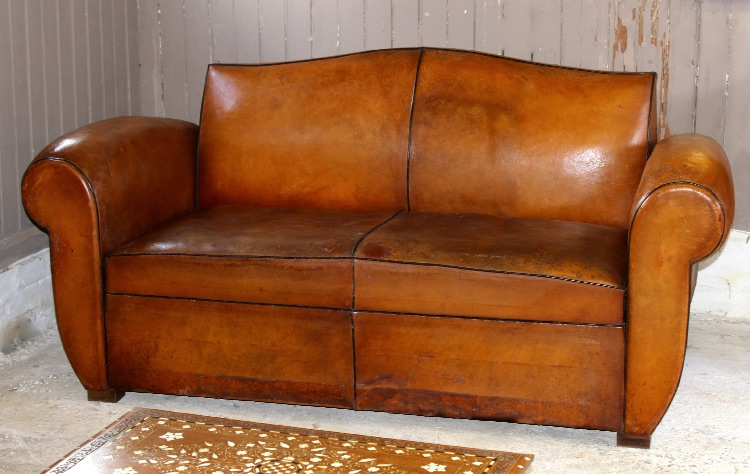 Merveilleux Handsome Vintage French Leather Two Seater Sofa Sofa/bed, Attractive Art  Deco Design, With U0027moustacheu0027 Style Back, And U0027Cuban Cigaru0027 Style Arm.