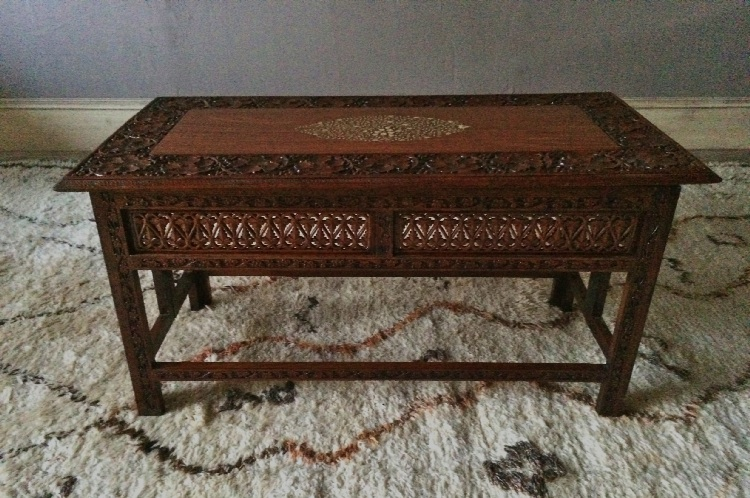 Vintage Indian Teak Bone Inlaid Carved Side Coffee Table Lionheart Interiors