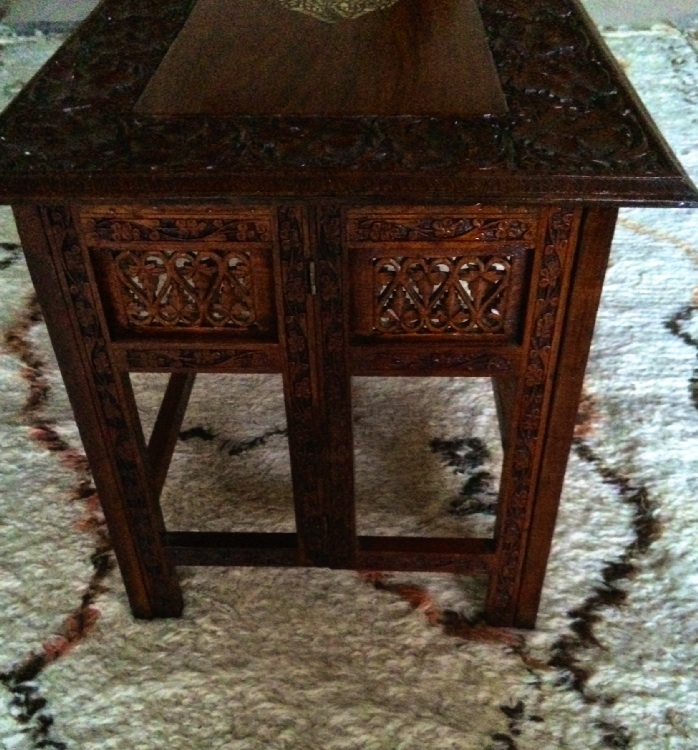 Antique Coffee Table With Folding Sides: Vintage Indian Teak Bone Inlaid Carved Side/coffee Table