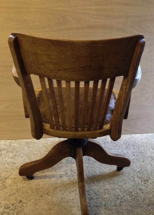 Vintage Oak Swivel Desk Captains Chair