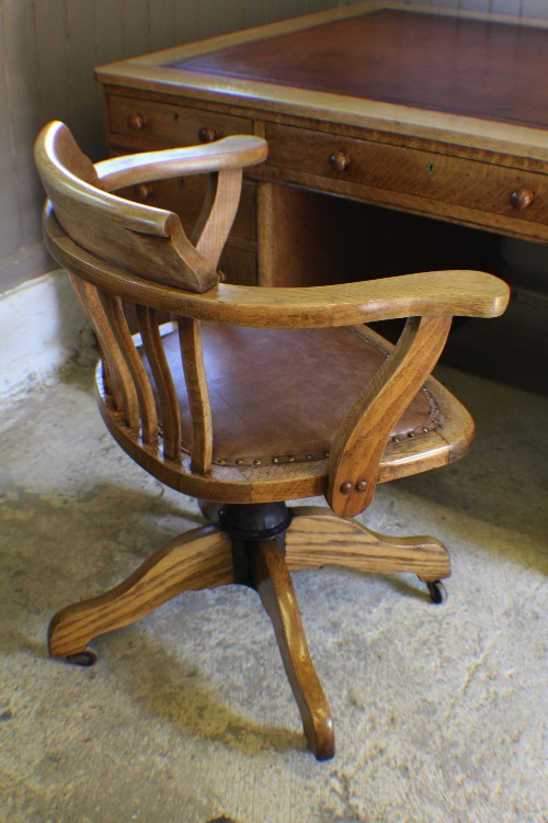 Vintage Oak Office Desk Captains Chair