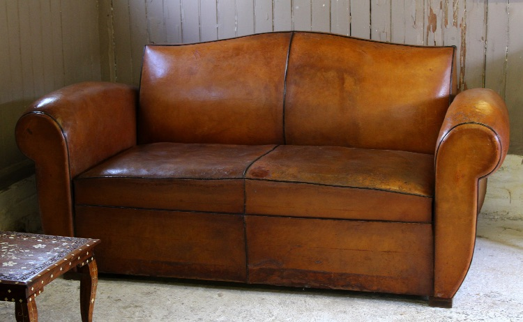 Vintage French Leather Moustache Back Two Seater Sofa Bed
