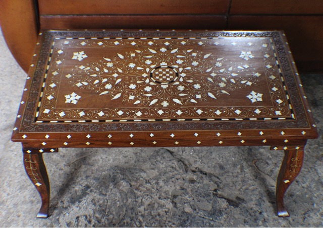 Astonishing Vintage Indian Teak Bone Inlaid Carved Side Coffee Table Dailytribune Chair Design For Home Dailytribuneorg